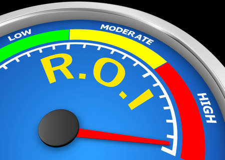 rate of return: r.o.i level to maximum conceptual meter, 3d rendering Stock Photo