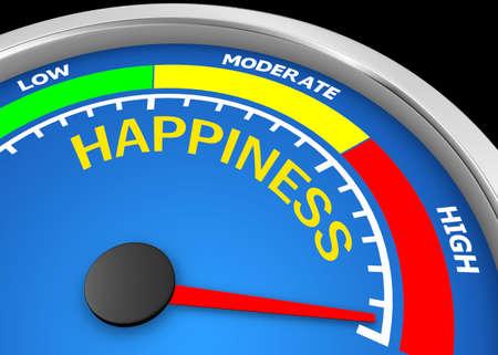 happiness  level to maximum conceptual meter, 3d rendering