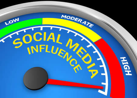 Social media influence level to maximum modern conceptual meter, 3d rendering