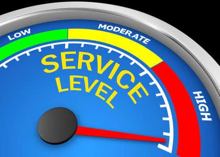 Concept image for illustration of service level in the highest meter , 3d rendering