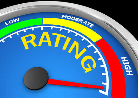 Concept image for illustration of rating in the highest meter , 3d rendering