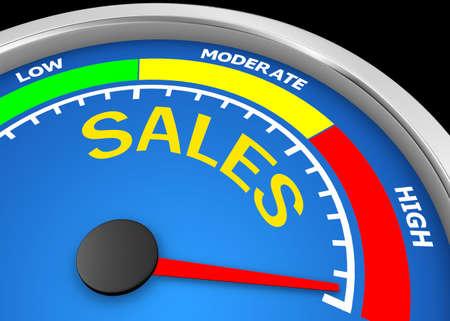 Concept image for illustration of sales in the highest meter , 3d rendering