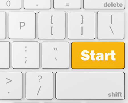 keyboard with  START button, 3d rendering