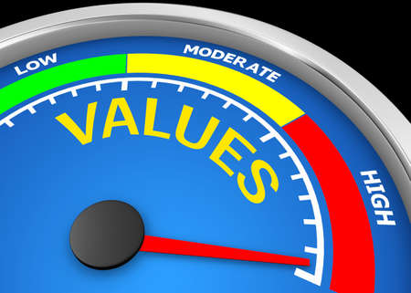 values conceptual meter, 3d rendering