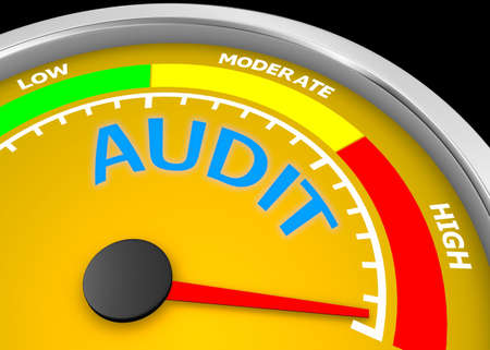 audit level to maximum conceptual meter, 3d rendering Stock Photo