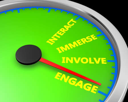 Involve Share Interact Engage meter 3d Illustration rendering Banco de Imagens
