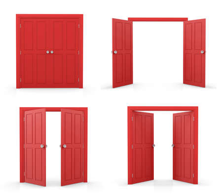 3d red double door on white background Stock Photo