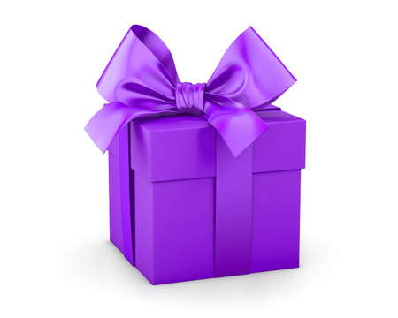 new years day: Purple gift box for Christmas, New Years Day 3d rendering