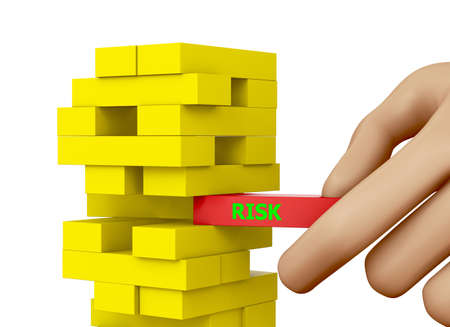 Planning, risk and strategy in business, businessman gambling placing wooden block on a tower 3d rendering Stock Photo