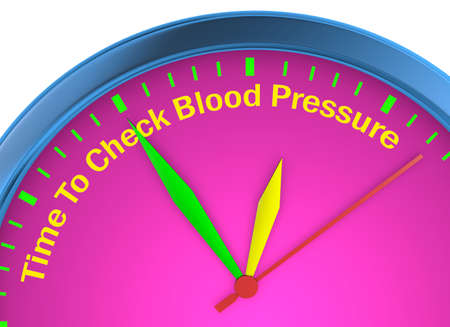 Check blood pressure motivation message on concept clock 3d rendering