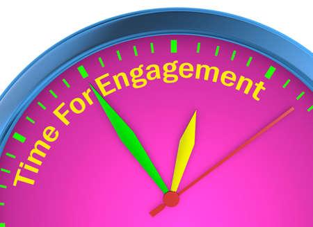 Engagement tijd woord over concept Klok 3D-rendering Stockfoto
