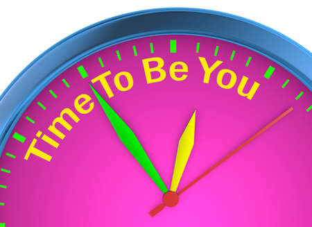 self training: Time to be yourself word on concept clock 3d rendering Stock Photo