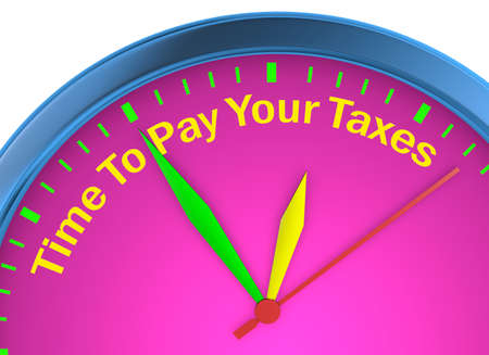 Time to pay your taxes concept clock 3d rendering Stock Photo