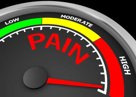 pain level conceptual meter indicate maximum, isolated on white background 3d rendering