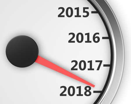 2018 year speedometer concept. 3d rendering