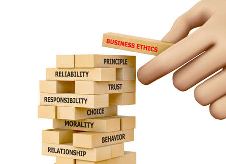 Businessman Building BUSINESS ETHICS Concept with Wooden Blocks 3d rendering Banco de Imagens - 77857109
