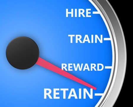Hire Train Reward Retain words on a speedometer to illustrate human resources best practices processes for new employees 3d rendering