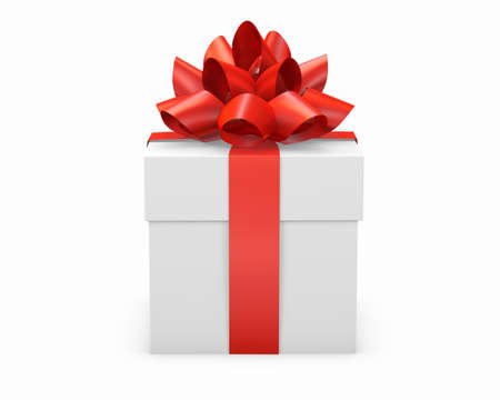Christmas and New Years Day , red gift box white background 3d rendering Stock Photo