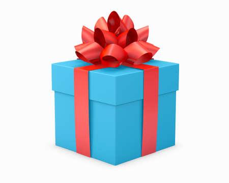 クリスマスとお正月の青空赤いギフト ボックス ホワイト バック グラウンド 3d レンダリング