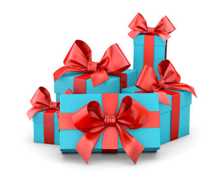 Christmas and New Years Day ,red blue sky gift box white background 3d rendering
