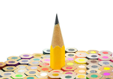 Close-up of pencils white background, stand out of the crowd concept