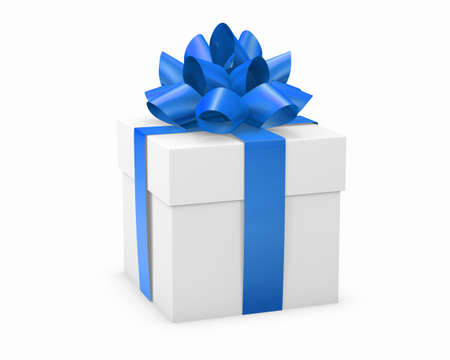 Christmas and New Years Day , blue gift box white background 3d rendering
