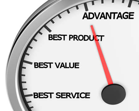Advantage Better Product Price Service Speedometer 3d Illustration rendering 写真素材