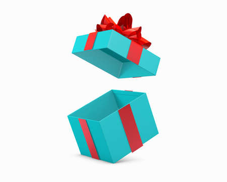 Christmas and New Years Day gift box red blue background 3d rendering