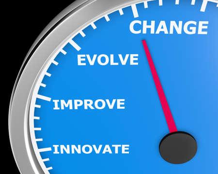 Verander Innovate Verbeter Betrek Snelheidsmeter het 3d Illustratie teruggeven Stockfoto