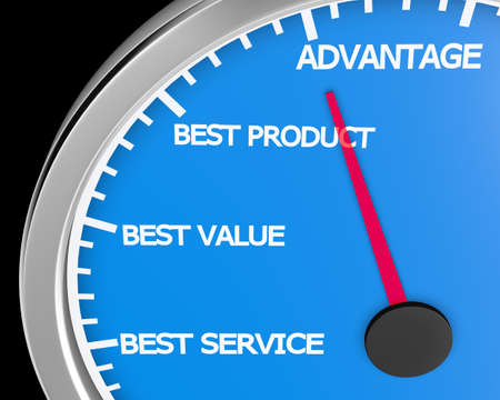 better: Advantage Better Product Price Service Speedometer 3d Illustration rendering Stock Photo