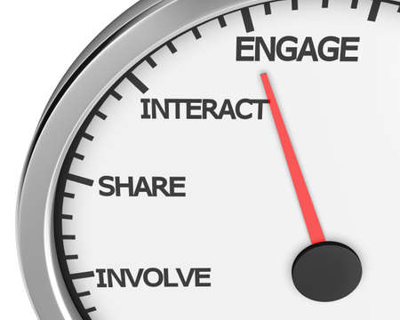 better: Involve Share Interact Engage meter 3d Illustration rendering Stock Photo