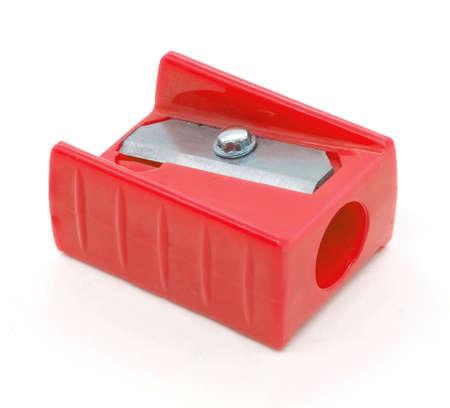 白い背景で隔離赤い削り鉛筆 写真素材