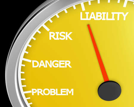 mitigating: Problem, Danger, Risk  and Liability words on a speedometer 3d rendering