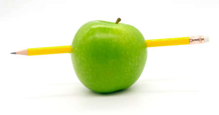 yellow pencil to did into the green apple.