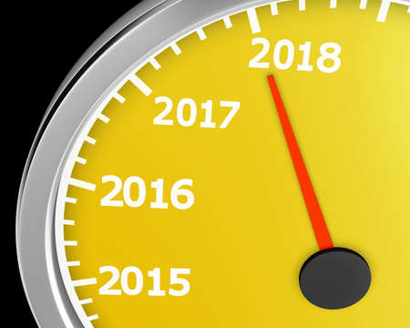 numbers abstract: 2018 year speedometer concept. 3d rendering