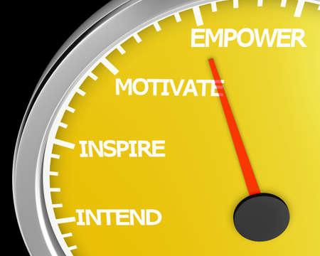 Empower Speedometer 3d Illustration rendering Stock Photo