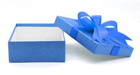 Christmas, New Years Day ,Open blue gift box top view white background