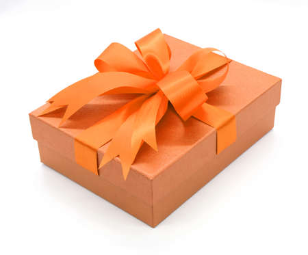 Christmas, New Years Day , orange gift box top view white background 3d rendering Stock Photo