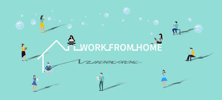 Men and women wear mask.work from home to protect from COVID-19 virus outbreak spreading concept. Illustration