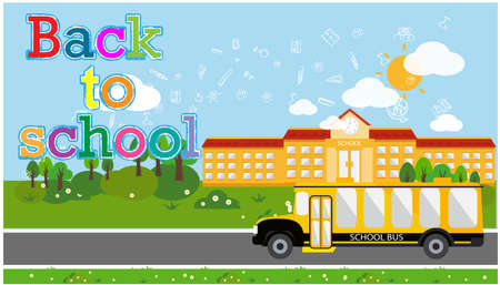 illustration education school,School bus and Text Back to school Creativity modern design Idea and Concept.
