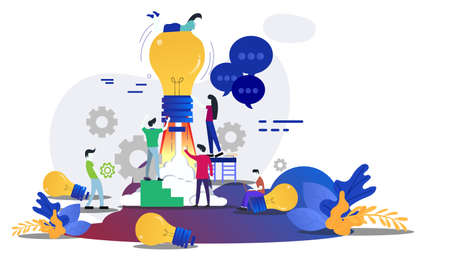 Businessman and Lady  group Brainstorm working for Startup success with Lamp Creativity modern Idea and Concept illustration.