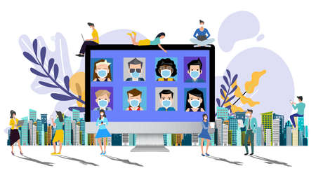 Men and women wear mask contact communicate Style set Multiracial people wearing ppe masks technology. flat design concept video conference. online meeting work form home. Social distancing. new normal.