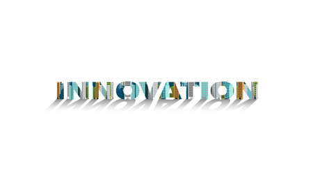 Building modern with text INNOVATION Creativity Idea and Concept illustration.