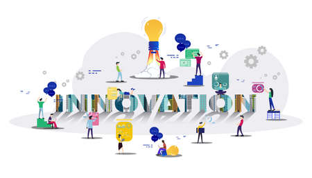 Businessman and Lady group Brainstorm working for Startup success with Building modern with text INNOVATION Creativity modern Idea and Concept illustration.