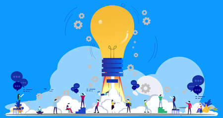 Businessman and Lady group Brainstorm working for Startup success modern Creativity modern Idea and Concept illustration.