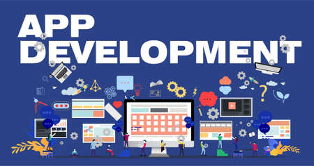 Man and woman think analyze creative work with APP DEVELOPMENT Text, flat design illustration Creativity modern Idea and Concept Vector.
