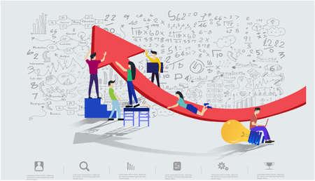 Business team Man and woman think analyze creative work with hoist up arrow,flat design illustration Creativity modern Idea and Concept Vector Infographic template. Vektoros illusztráció
