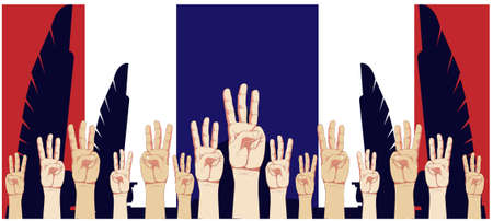 Banner with raise 3 fingers for Demand democracy Thailand.