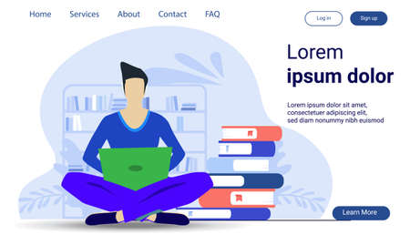 Business Man Use laptop and Book readers, think analyze flat design illustration Creativity modern Idea and Concept Vector infographic template.