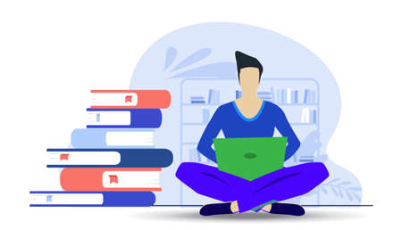 Business Man Use laptop and Book readers, think analyze flat design illustration Creativity modern Idea and Concept Vector. Illustration